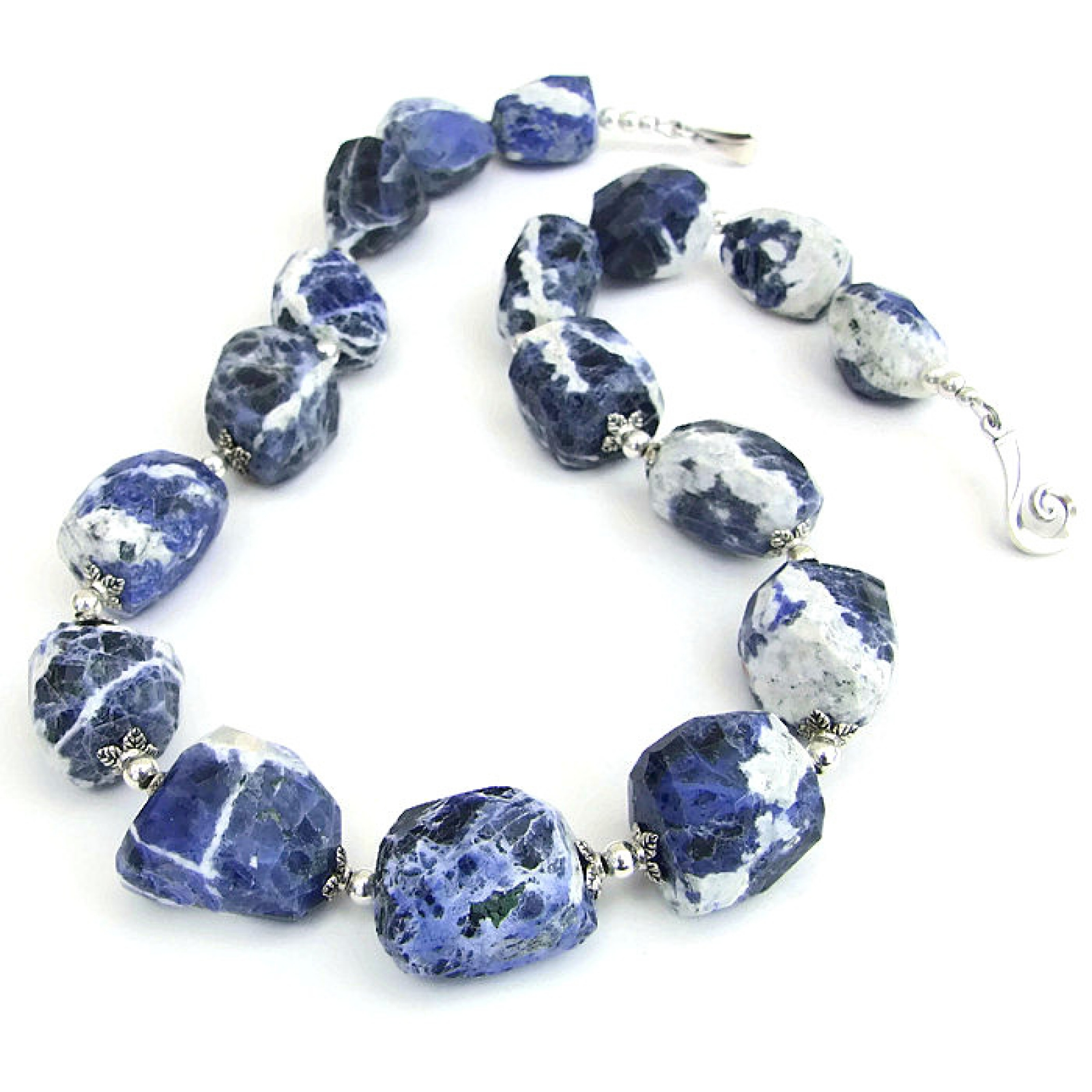 blue sodalite necklace handmade gemstone artisan