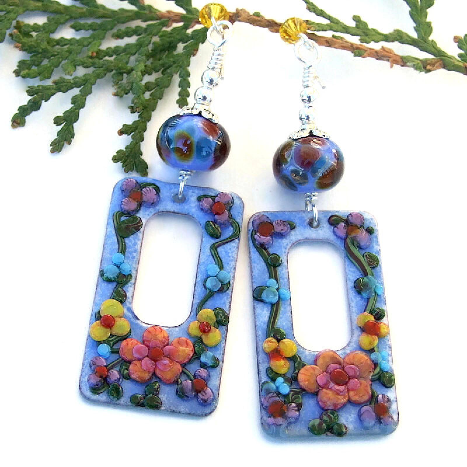 yellow lampwork glass flower earrings Mother/'s Day earrings floral earrings glass drop earrings