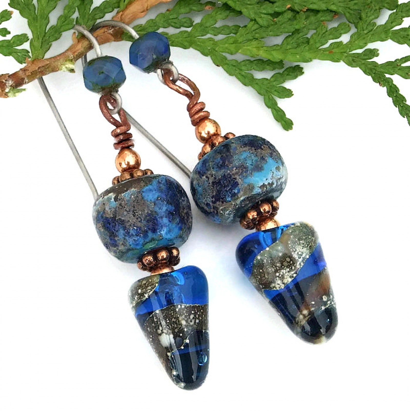 blue lampwork spike boho earrings handmade rustic glass artisan dangle jewelry