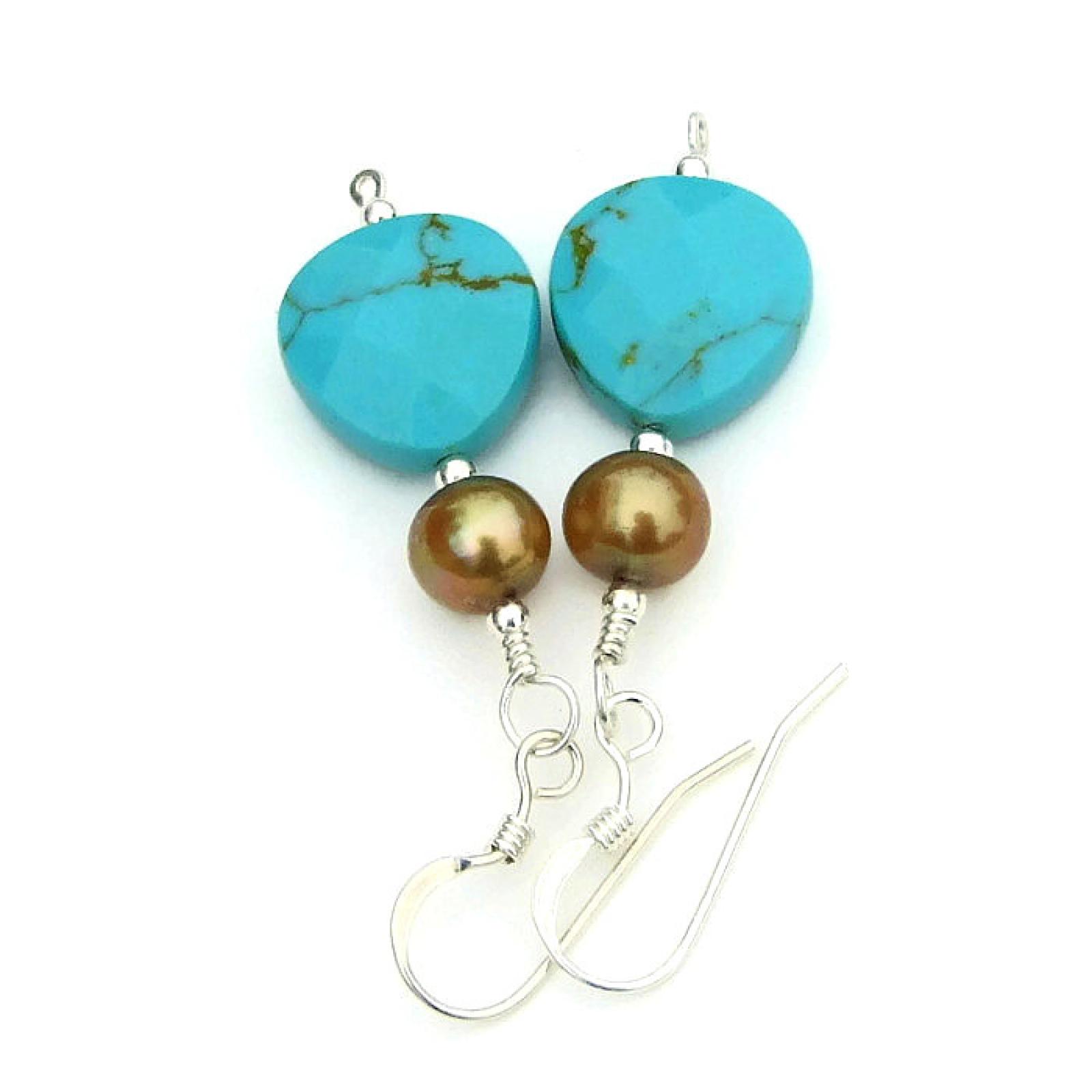 Turquoise Teardrop Pearl Earrings Blue Gemstone Handmade