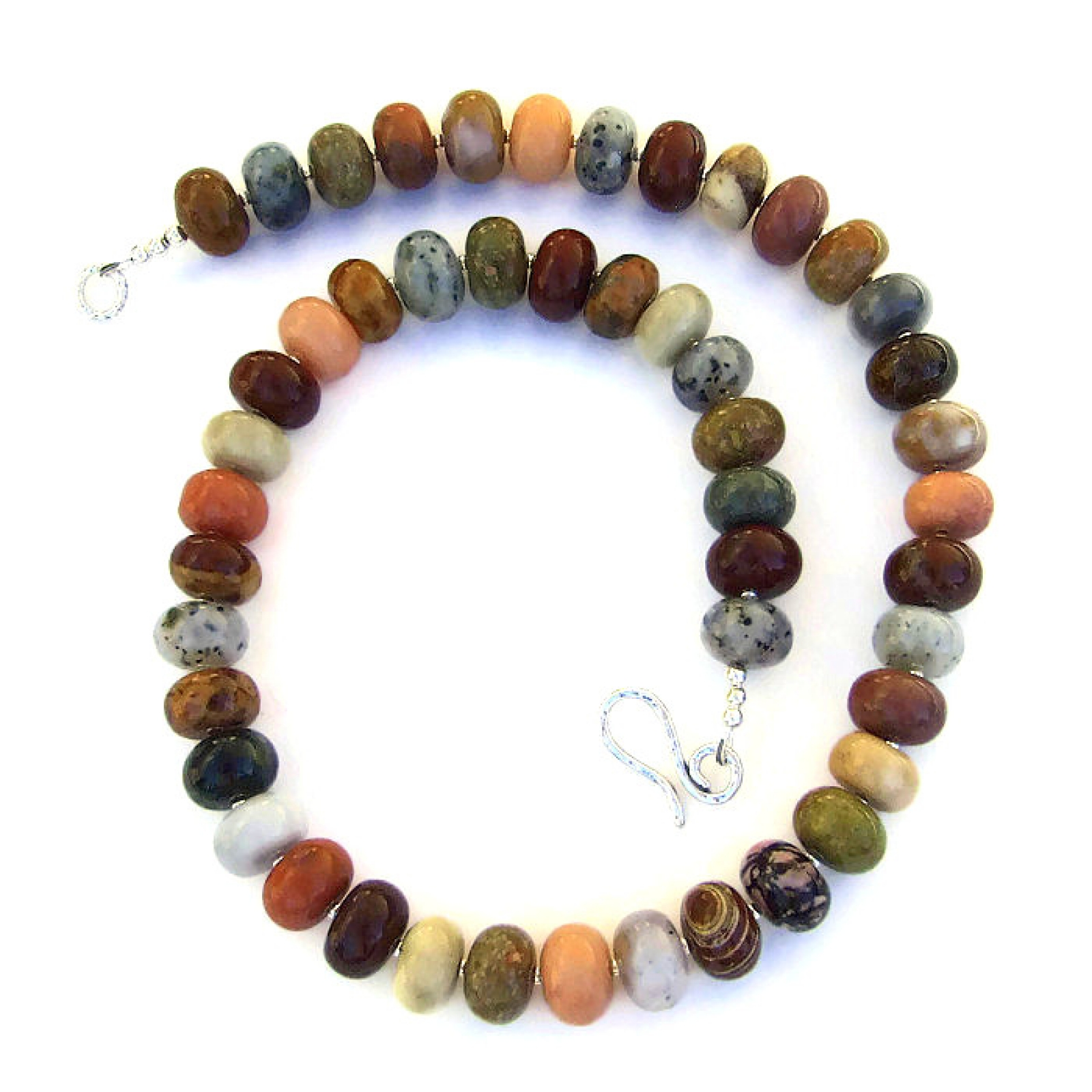 mixed gemstone necklace handmade agate jasper