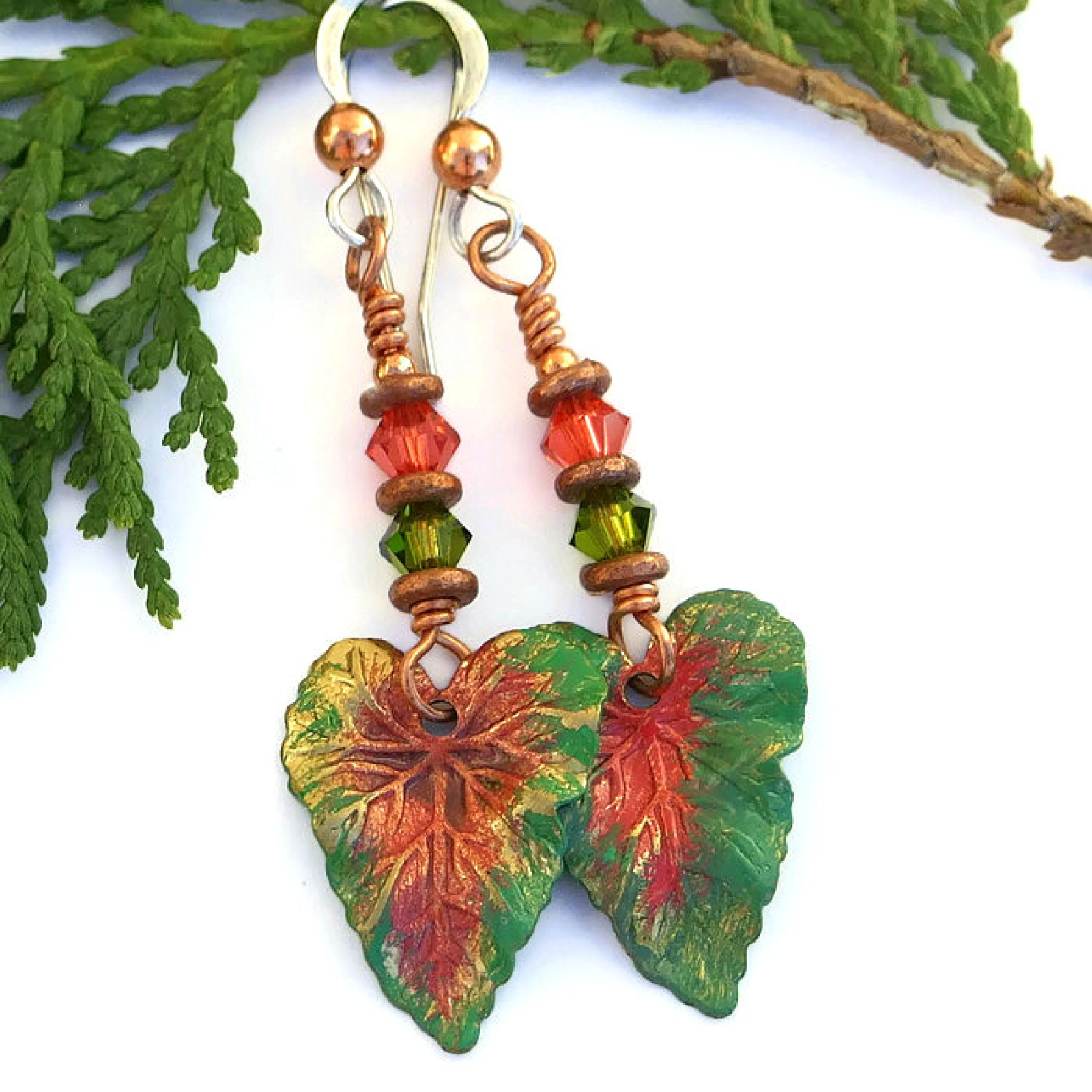 Green Coral Brass Tropical Leaf Earrings Handmade Jewelry