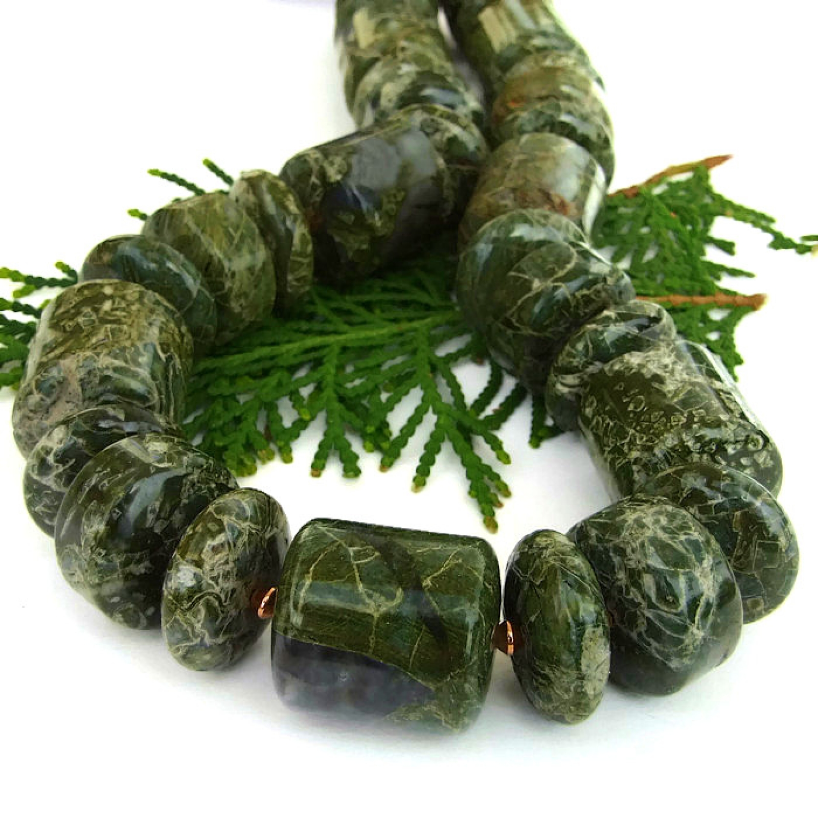 Green Serpentine Chunky Necklace, Handmade Gemstone ...  Green Serpentin...