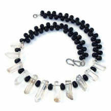 WHISPERS OF THE UNTOLD - Quartz Points Black Onyx Gemstone Necklace, Handmade Jewelry