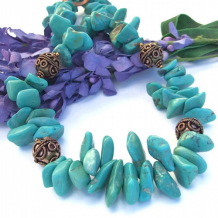 SONG OF THE SOUTHWEST - Turquoise Nugget Copper Necklace, Handmade Gemstone Unique Jewelry