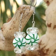 GREEN SPEARMINT CANDY - Christmas Spearmint Candy Lampwork Sterling Earrings, Handmade Green