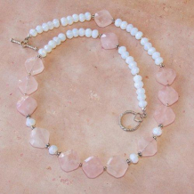 HEART AND SOUL - Rose Quartz Pink Opalite Valentines Handmade Necklace