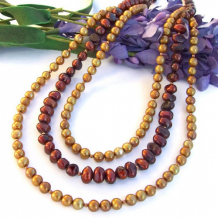 ALLURING - Multi Strand Pearl Handmade Necklace, Maroon Gold Copper Beaded Jewelry