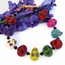 SKULL FIESTA - Day of the Dead Skull Handmade Bracelet, Swarovski Unique Jewelry