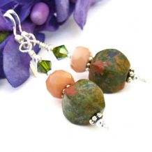 HARMONY - Rhyolite Handmade Earrings, Green Gemstone Peach Coral Beaded Jewelry