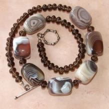 AFRICAN DREAMS - Chunky Botswana Agate Smoky Quartz Gemstone Necklace, Handmade
