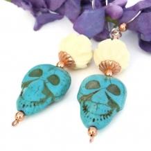 ZEN SKULLS - Skull and Lotus Handmade Earrings Day of the Dead Unique Jewelry
