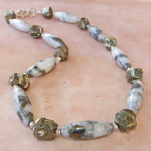 TREASURE OF THE SIERRA MADRE - White Quartz Pyrite Nuggets Sterling Handmade Necklace