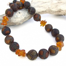 TIMELESS MEDLEY - Etched Agate Amber Handmade Necklace, Copper Gemstone Jewelry