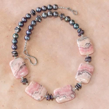 INCA ROSE - Pink Rhodochrosite Keshi Pearls Gray Handmade Necklace