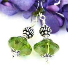 VERDANT - Apple Green Czech Rivoli Handmade Earrings, Sterling Swarovski Jewelry