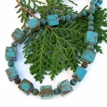DESERT WINDS - Handmade Turquoise Magnesite Necklace Cubes Copper Unique Jewelry