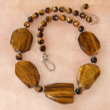 TIGER PALACE - Chunky Golden Tigers Eye Gemstone Necklace, Handmade Jewelry