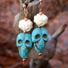 DAY OF THE DEAD MEETS ZEN - Day of the Dead Skull Earrings, Lotus Handmade Turquoise Bone Halloween
