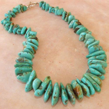 TURQUOISE DREAMING - Bold Turquoise Nuggets Sterling Silver Handmade Necklace