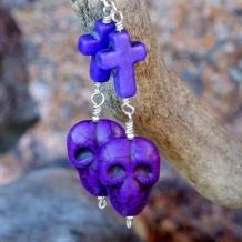 GOTHIC GOODNESS - Purple Skull Crosses Day of the Dead Halloween Goth Handmade Earrings