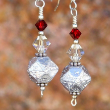 SILVER SWEETS - Silver Czech Glass Rustic Earrings Handmade Christmas Swarovski Red