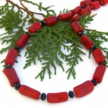 MAUNA LOA - Red Coral Black Onyx Handmade Necklace, Unique Beaded Jewelry