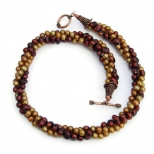 GO BOBCATS! - Maroon Gold Twisted Pearl Handmade Necklace, Torsade Jewelry