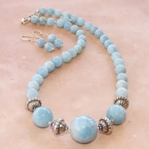 COOL, COOL WATERS - Aquamarine and Sterling Gemstone Chunky Handmade Necklace, Calming Beaded