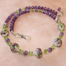 WISTERIA IN THE SPRING - Lampwork Purple Amethyst Green Peridot Handmade Necklace