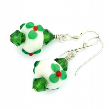 CHEERFUL CHRISTMAS - Christmas Holly Lampwork Earrings, Handmade Swarovski Red Green Jewelry
