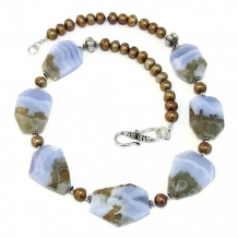 EARTH AND SKY - Handmade Necklace, Blue Lace Agate Pearls Beaded Jewelry Summer