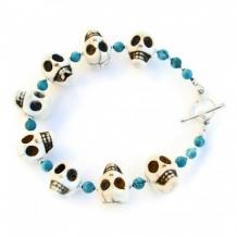 HAPPY SKULLS - Skull Bracelet Handmade Day of the Dead Magnesite Jewelry Unique