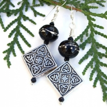 MIDNIGHT MYSTERY - Diamond Cross Pewter Lampwork Earrings, Handmade Black Beaded Jewelry