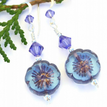 PRETTY PANSY - Blue Purple Flower Pansy Czech Earrings, Handmade Swarovski Spring