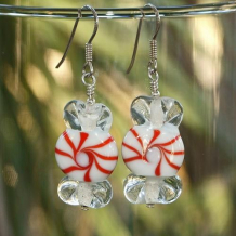 PEPPERMINT CANDY - Christmas Candy Peppermint Lampwork Sterling Earrings, Handmade Red