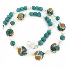 FLOWER SHOW - Handmade Necklace, Flowers Polymer Clay Magnesite Pearls Jewelry Summer