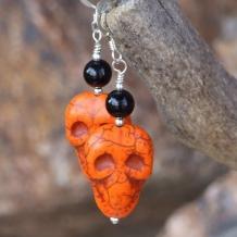 SCARY! - Halloween Day of the Dead Skull Earrings, Handmade Orange Jewelry