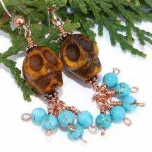 DIA DE LOS MUERTOS - Skulls Carved Bone Turquoise Handmade Earrings, Copper  Jewelry