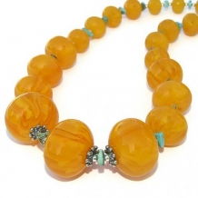 SONORAN SUNRISE - Chunky Copal Turquoise Handmade Necklace Beaded Jewelry Summer