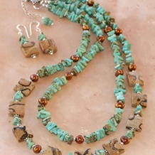 RAMBLE ON - Mad Leopard Jasper Turquoise Pearl Sterling Handmade Necklace