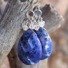 DON'T GOT THE BLUES - Blue Sodalite Swarovski Handmade Earrings, Gemstones Sparkle