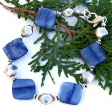 BLUE JEAN HEAVEN - Blue Kyanite Sterling Handmade Bracelet, Dolphin Gemstone Jewelry