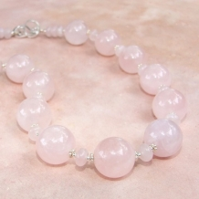 FIRST BLUSH - Chunky Rose Quartz Handmade Necklace, Pink Gemstones