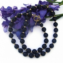 BLACK AND GOLD - Black Onyx Gold Bead Handmade Necklace