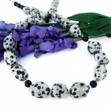 SPOTTI - Dalmatian Jasper Handmade Necklace, Black Onyx Gemstone Beaded Jewelry