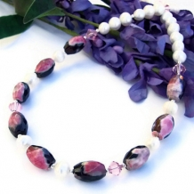 PASSIONATA - Rose Pink and Black Agate Handmade Necklace, Pearls Mothers Day Jewelry