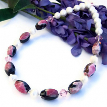 PASSIONATA - Pink Black Agate Pearls Necklace, Wedding Handmade Gemstone Jewelry