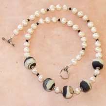 MOON ROCKS AND PEARLS - Matte Lampwork Beads Pearls Black Spinel Handmade Necklace