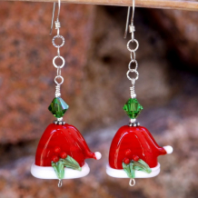 SANTA'S HOLLY HATS - Santa Hats Christmas Lampwork Earrings, Holiday Swarovski Handmade